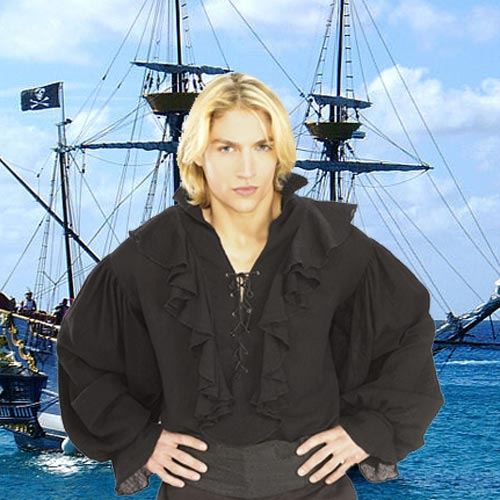 Black Linen Pirate Shirt
