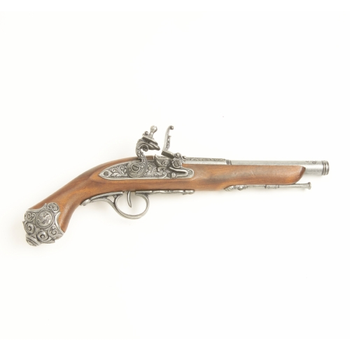 18th Engraved English Pirate Flintlock Pistol w. Steel Finish