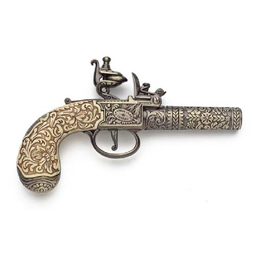 18th Century Engraved Flintlock Pistol - Brass