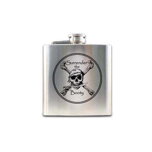 Pirate Flask - Stainless Steel Surrender The Booty