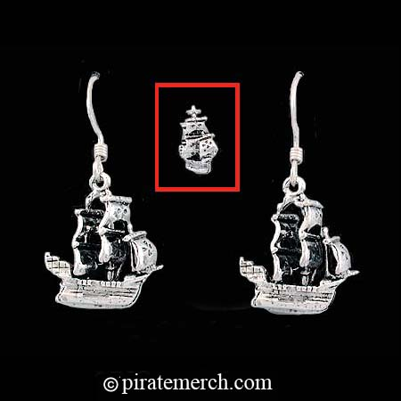 Sterling Silver Buccaneer Ship Earrings