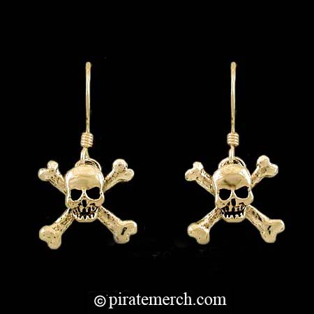 14K Gold Skull & Crossbones Earrings