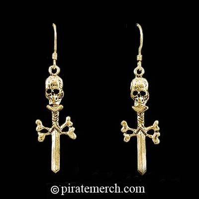 14k. Gold Skull & Crossbones Sword Earrings