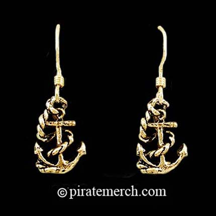 14k Gold Pirate Ship Anchor Earrings