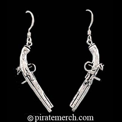Sterling Silver Musket Pistol Earrings