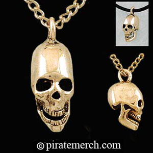 14k. Gold Pirates Skull Necklace