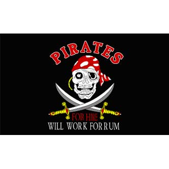 Pirate Flag - Pirates For Hire 3 x 5'