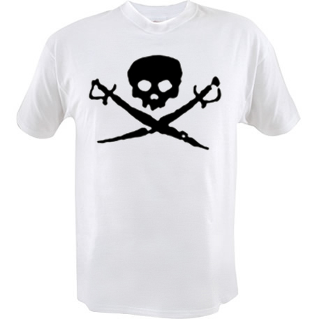 Kid's Pirate Shirt - Skull and Swords - Red