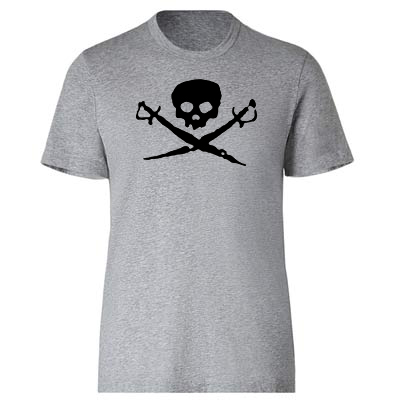 Men's Shirt - Skull and Swords - Gray