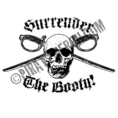 Surrender The Booty Ladies Pirate Shirt White or Pink