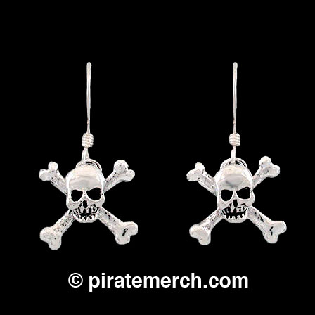 Sterling Silver Skull & Crossbones Earrings