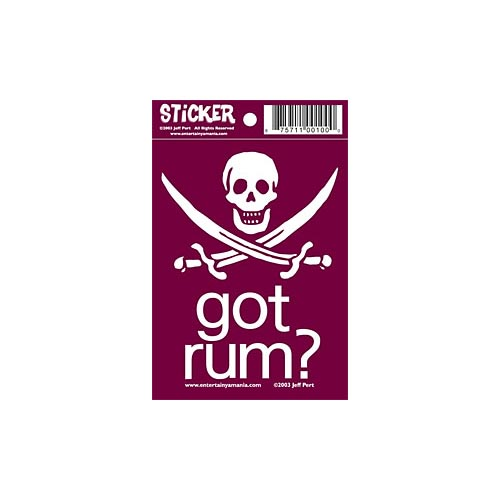 Got Rum? Pirate Bumper Sticker in Red