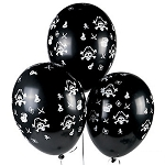 Skull & Crossbones Pirate Balloons - 25 Pack