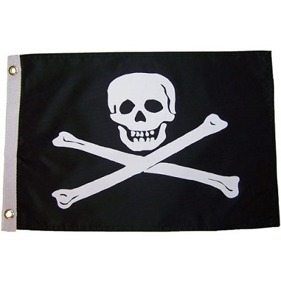 "Jolly Roger 12 x 18"" Nylon Flag"