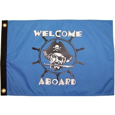 "Welcome Aboard 12""x18"" Nylon Pirate Flag"