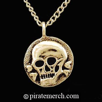 6782630aa3583 14k. Gold Pirates Medallion Necklace