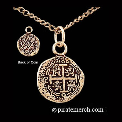 14k Gold Pirates Coin Necklace - Piece of Eight