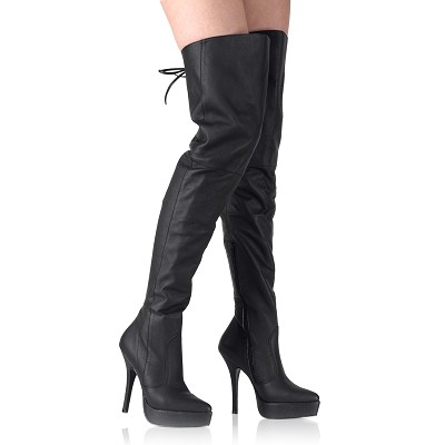 991082971466 Pirate Boots - Demonia INDULGE-3011 Black Leather Thigh High Boots