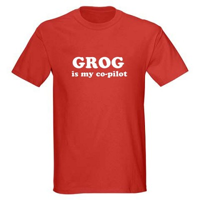 Kids Pirate Shirt - Grog is my Co-pilot - Red