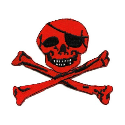 Pirate Patch - Jolly Roger Outline Red