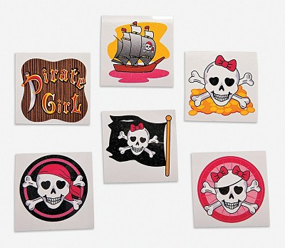 Pirate Tattoos - Pirate Girl Variety Pack (3 dozen)