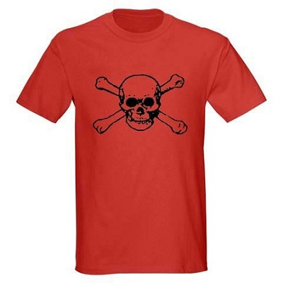Men's Pirate Shirt - Skull and Bones 2 - Red